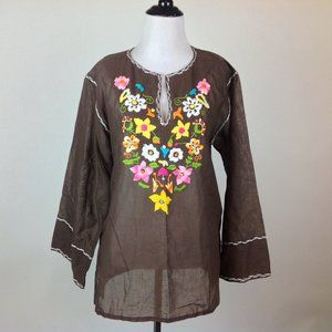 Vintage Embroidered Peasant Top Womens Large Boho